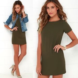 LuLu's Shift and Shout Olive Green Shift Dress S
